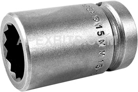 15MM15-D Apex 15mm 12-Point Metric Standard Socket, 1/2'' Square Drive