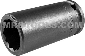 17MM23-D Apex 17mm 12 Point Metric Long Socket, 3/8'' Square Drive