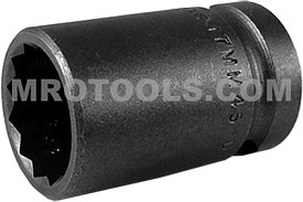 APEX 17MM45-D 17mm Standard Impact Socket, Thin Wall, 1/2'' Square Drive