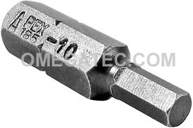 185-10X Apex 1/4'' Socket Head (Hex-Allen) Hex Insert Bits, SAE