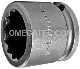 19MM03-D Apex 19mm 12-Point Metric Short Socket, 3/8'' Square Drive