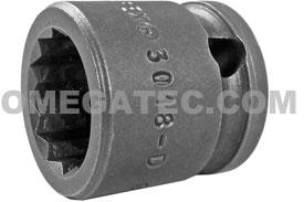 3018-D Apex 9/16'' 12 Point Short Socket, 3/8'' Square Drive