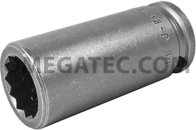 3218-D Apex 9/16'' 12 Point Long Socket, 3/8'' Square Drive