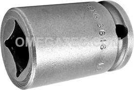 3616 Apex 1/2'' Single Square Nut Standard Socket, 3/8'' Square Drive