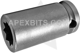 APEX 3616-D 1/2'' Double Square Nut Socket, 3/8'' Square Drive
