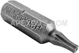 440-TX-08-H Apex 1/4'' Torx Hex Insert Bits, Tamper Resistant