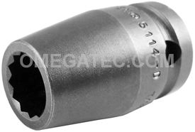 5114-D Apex 7/16'' 12-Point Standard Socket, 1/2'' Square Drive