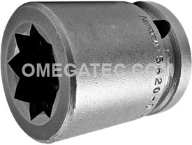 5620-D Apex 5/8'' Standard Socket, For Double Square Nuts, 1/2'' Square Drive