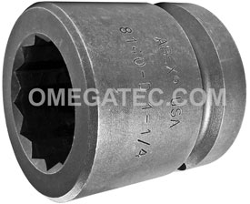 APEX 8140-D 1 1/4'' Standard Impact Socket, 12 Point, 1'' Square Drive