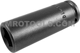 APEX M-10MM21 10mm Long Impact Socket, Magnetic, 1/4'' Square Drive
