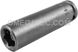 APEX M-1210 5/16'' Long Impact Socket, Magnetic, 1/4'' Square Drive