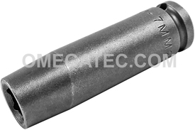 APEX M-7MM21 7mm Long Impact Socket, Magnetic, 1/4'' Square Drive