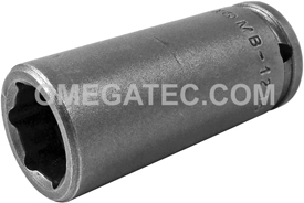 APEX MB-1216 1/2'' Long Impact Socket, Magnetic, 1/4'' Square Drive