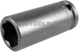 SF-15MM23 Apex 15mm Surface Drive Metric Long Socket, 3/8'' Square Drive
