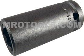 APEX SF-16MM25 16mm Long Impact Socket, Surface Drive, 1/2'' Square Drive
