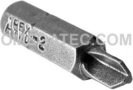 APEX TWD-2 #2 Tri-Wing Insert Bits, 1/4'' Hex Drive
