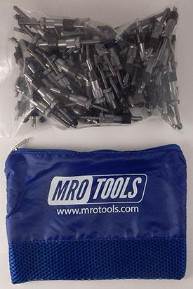 SEL2S100-3/16 No-Mar 3/16'' Sheet Metal Fasteners 100 Piece Kit w/ Carry Bag