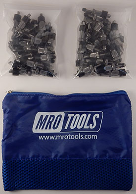 SSL2S50-3/16 No-Mar 3/16'' Sheet Metal Fasteners 50 Piece Kit w/ Carry Bag