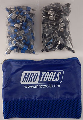 SSL3S100-4 No-Mar 50 3/16'' & 50 5/32'' Sheet Metal Fasteners Kit w/ Carry Bag