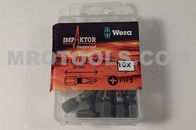 05057617001 WERA (Pack of 8) 851/1 #3 IMP DC Impaktor Phillips 1/4'' Hex Insert Bit - FLASH SALE