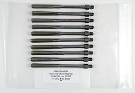 1/4-28 Thread Reamer, .2460 Diameter, Non-Piloted, HSS, 4'' OAL, RMA2S2460Z4